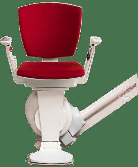 Le monte-escalier Otolift Modul-Air est disponible en rouge.